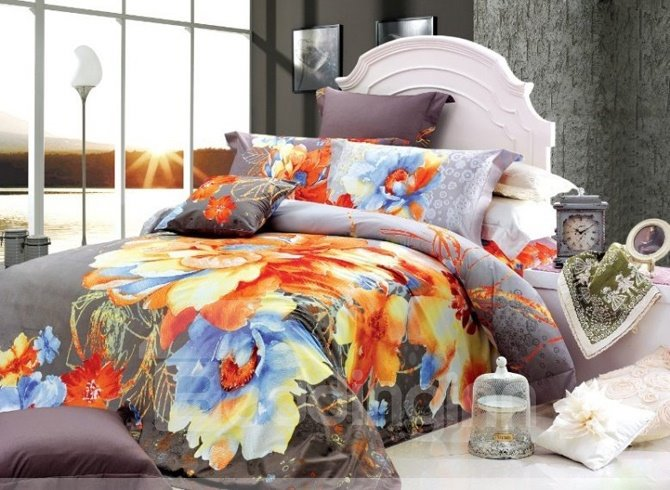 Well-mannered Gray 4 Piece Modern Chinese Ink Duvet Cover Sets