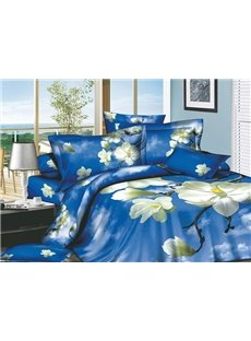 Blue Sky and White Magnolia Print 4-Piece Cotton Duvet Cover Sets