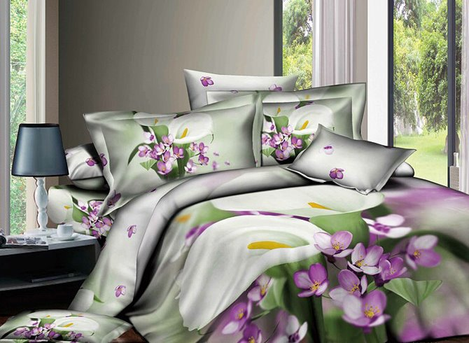 3D White Calla Lily Printed Cotton 4-Piece Bedding Sets/Duvet Covers