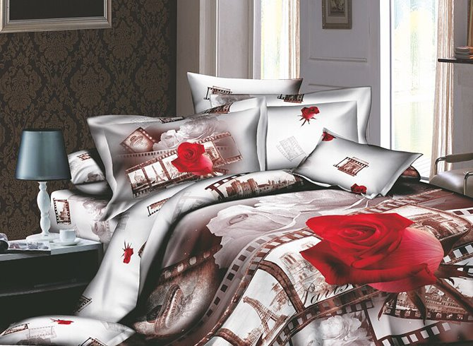 Image For 3D Red Rose and Film Printed Retro Style Cotton 4-Piece Green Bedding Sets