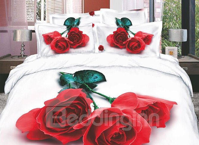 Delicate and Charming Red Rose 4 Piece Cotton Bedding Sets with Printing