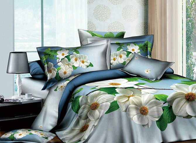 3D White Fragaria Ananassa Duch Printed Cotton 4-Piece Bedding Sets/Duvet Cover