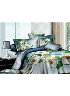 Blossoming White Flowers 4 Piece Active Print Duvet Cover Sets with Cotton