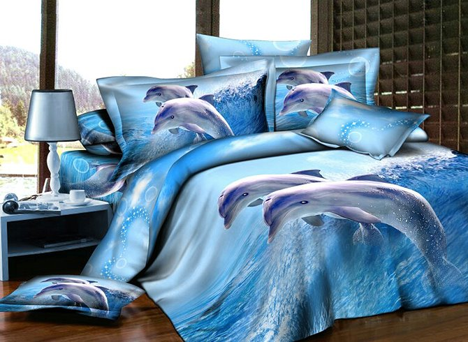 Blue Dolphins Reactive Printing 4-Piece Cotton Duvet Cover Sets