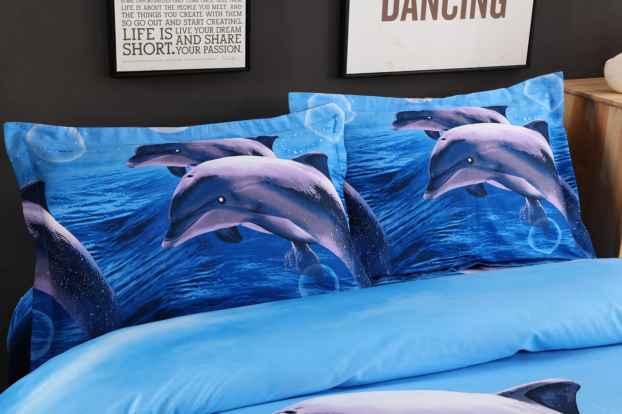 3D Dolphin Jumping in Ocean Printed Cotton 4-Piece Blue Bedding Sets/Duvet Covers