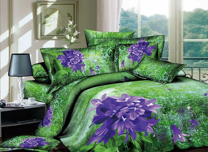 3D Purple African Lily Printed Cotton 4-Piece Bedding Sets/Duvet Covers