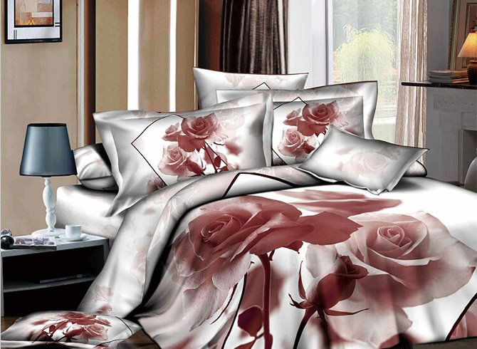 Image For 3D Nude Rose Printed Cotton 4-Piece White Bedding Sets/Duvet Covers