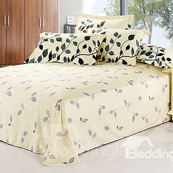 Elegant Beige Printed Cotton Sheet with Leaves