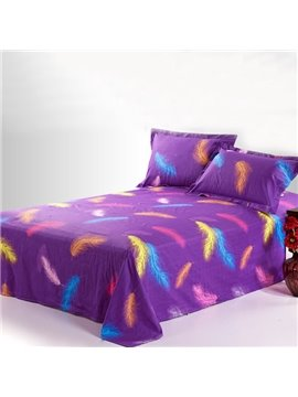 Charisma Purple Printed Cotton Sheet with Colorful Feather