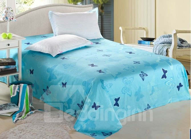 Dreamlike Blue Butterflies Wash Printed Cotton Sheet