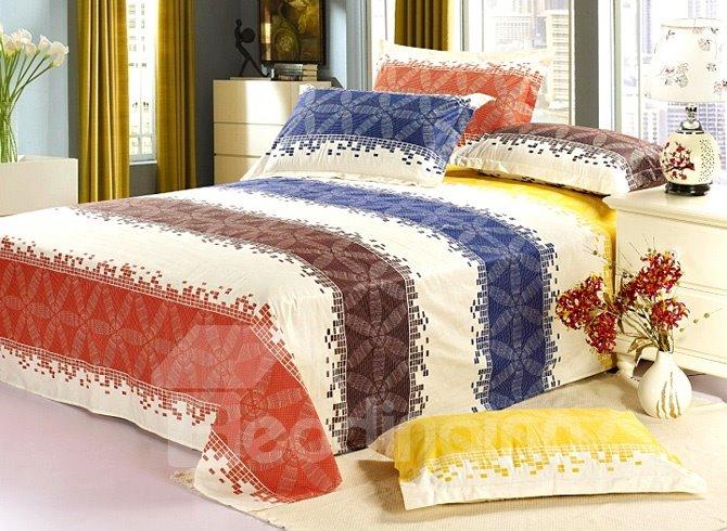 Brilliant Colorful Wide Stripe Cotton Sheet