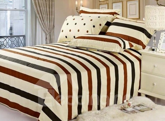 Comfortable Classical Brown and Black Stripe Cotton Sheet