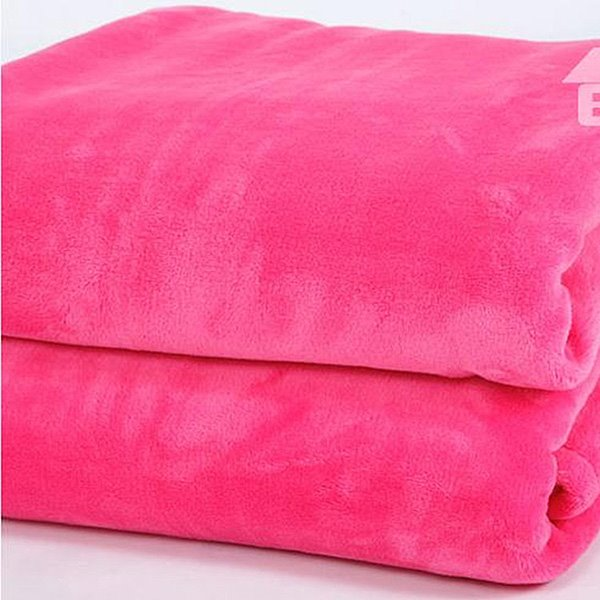 Solid Color Rose Pink Thick Flannel Blanket