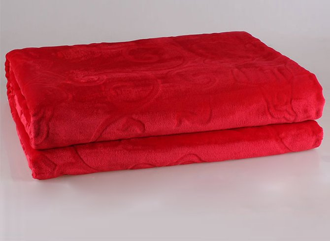 Image For Bright Red Coral Fleece Blanket with Stereo Pattern