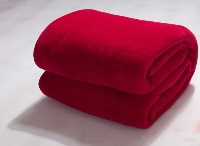 Image For Solid Color Bright Red Flannel Soft Comfortable Skincare Blanket