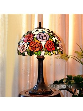 Artistic Tiffany Full-Bloom Rose Scene Pattern Table Lamp