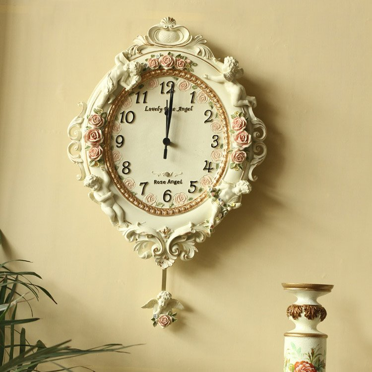 White European Rustic Style Angel Emboss Pattern Wall Clock