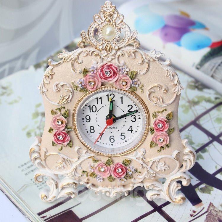 Korean Rustic Retro Rose Alarm Clock