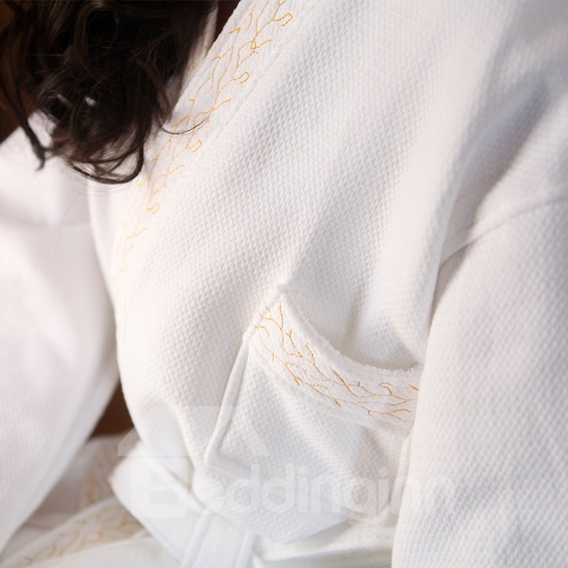 100% Soft Durable Egyptian Cotton Double waffle Thicken Bathrobe
