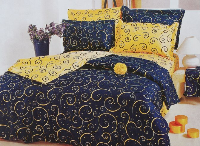 Yellow Swirls Pattern Luxury Style Blue Cotton 4 Piece