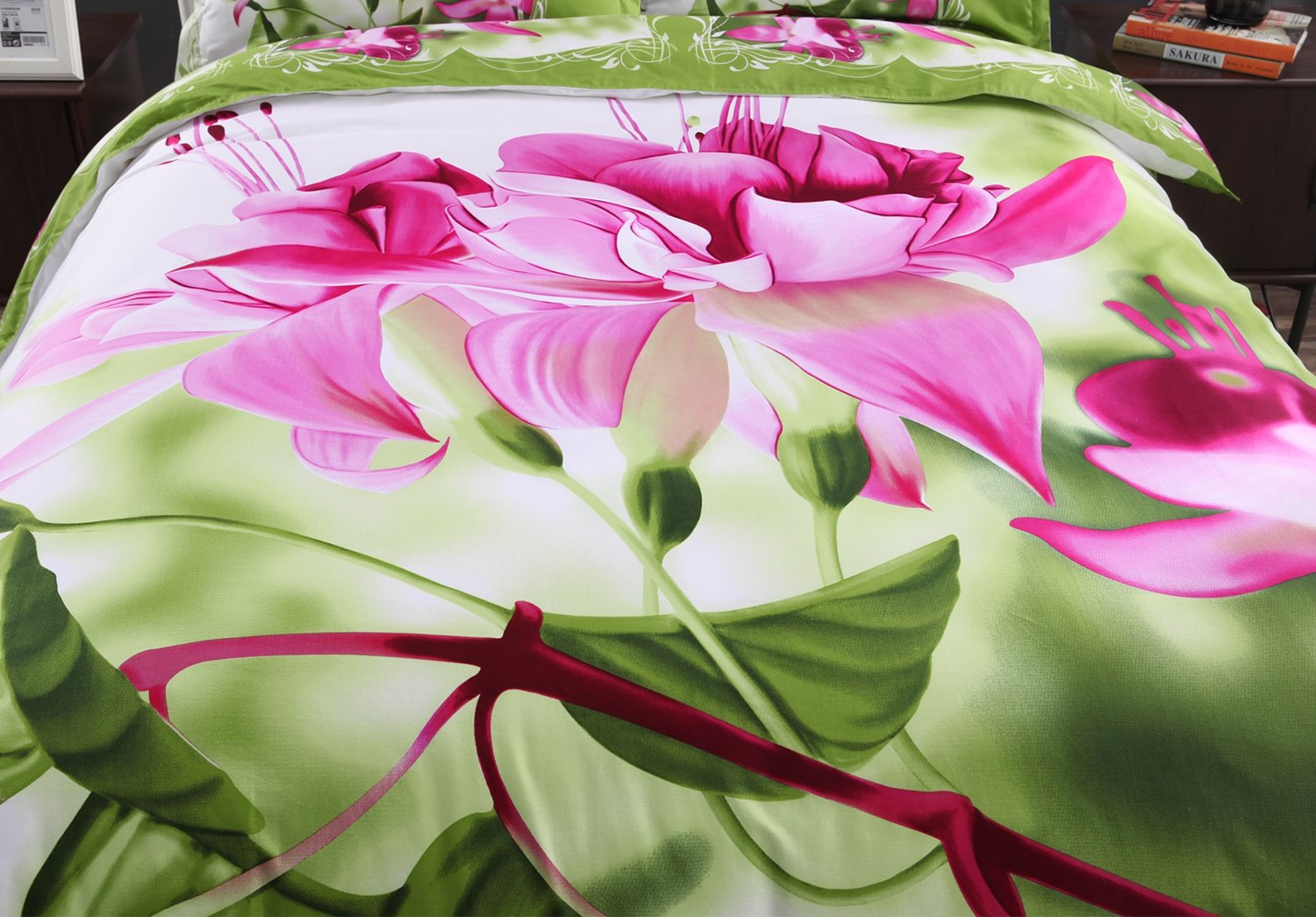 3D Pink Fuchsia Printed Cotton 4-Piece Bedding Sets/Duvet Covers