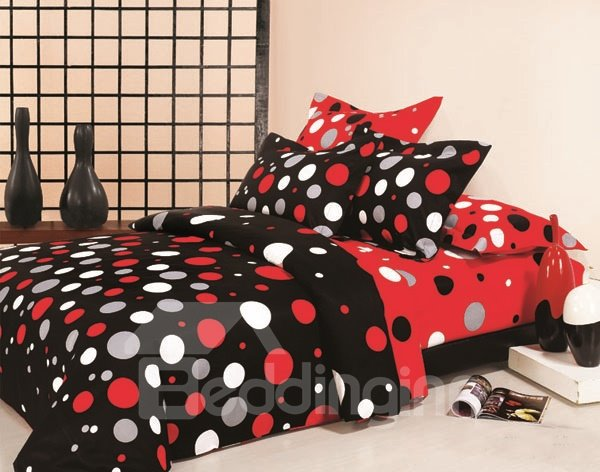 Stylish Red and White Dot 100% Cotton 4 Piece Bedding Set