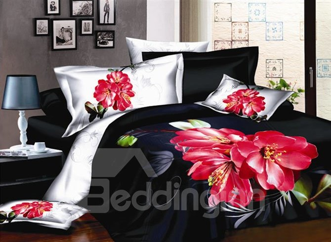 Provocative Black with Titoni 4 piece Cotton Bedding Sets of Princess
