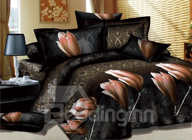 Mysterious Patterns with Champagne Flowers Printed 4 Piece Queen Bedding Sets