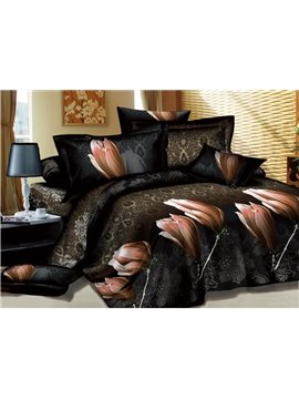 Mysterious Champagne Saffron Print 4-Piece Cotton Duvet Cover Sets