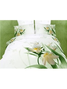 Graceful White Cotton Magnolia Flowers Printing 4 Piece Duvet Cover Bedding Sets