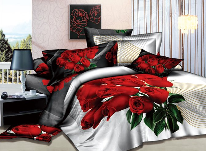 3D A Bunch of Red Roses Printed Cotton 4-Piece White Bedding Sets
