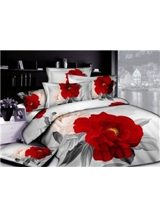 3D_Red_Peony_Printed_Luxury_Cotton_4Piece_Bedding_SetsDuvet_Cover