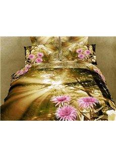 Warm-toned 4 Piece Brilliant Sunshine and Light Purple Flowers Printing Bedding Sets