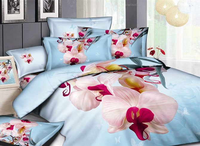 3D Phalaenopsis and Butterfly Printed Cotton 4-Piece Light Blue Bedding Sets/Duvet Covers