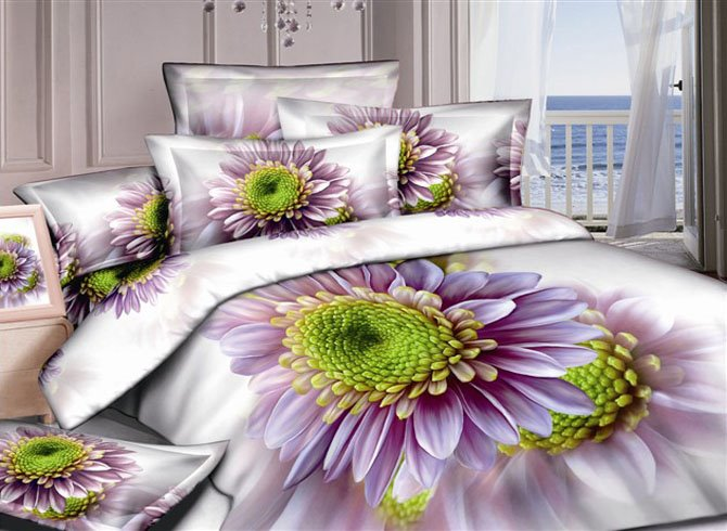 3D Purple Daisy Printed Cotton 4-Piece Bedding Sets/Duvet cover