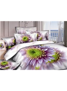 Graceful Purple Dasiy 3D Printed 4-Piece Cotton Duvet Cover Sets