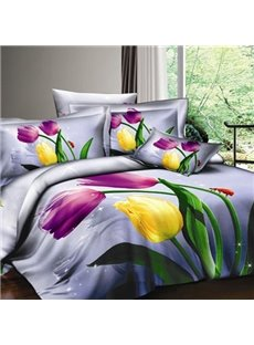 Purple 4-Piece Cotton  Bedding Sets with colorful Tulips
