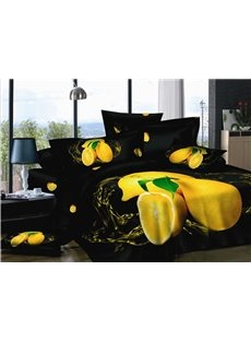 Algefacient Black with Oranges 4 Piece Cotton Bedding Sets of Princess