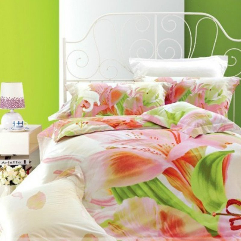 Fresh Flowers and Green Leaves of Printed 4 Piece Cotton Bedding Sets