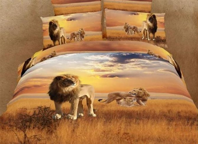 Brown Lion of the Prairies Printed 4 Piece Bedding Sets with Cotton
