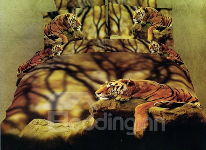 Docile Tiger 4-Piece Cotton Duvet Cover Sets