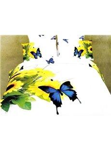 Magnificent 4 Piece Sunflowers and Butterflies Print Duvet Cover Sets of 100% Cotton