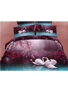 4 Piece Cotton Bedding Sets with Romantic White Swans in the Lake