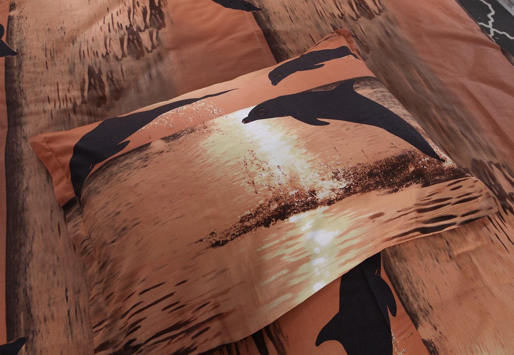 3D Dolphin in the Setting Sun Printed Cotton 4-Piece Bedding Sets/Duvet Covers