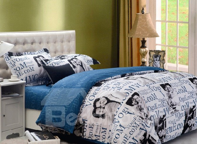 Fashion Blue Lover and Letters Printed 4 Piece Cotton Bedding Sets (10490064)