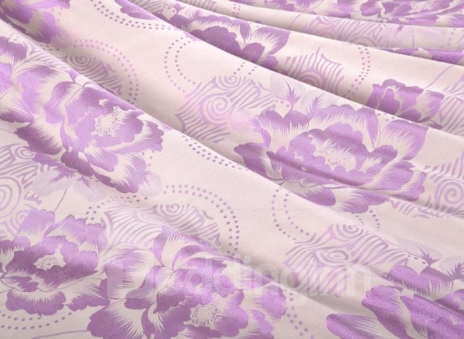 Mild Jacquard Little Purple Peony Drill 4 Piece Bedding Sets (10490233)