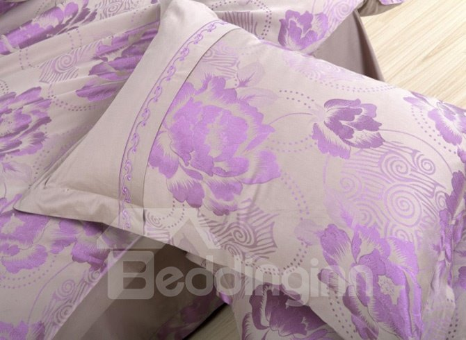 Mild Jacquard Little Purple Peony Drill 4 Piece Bedding Sets (10490233)