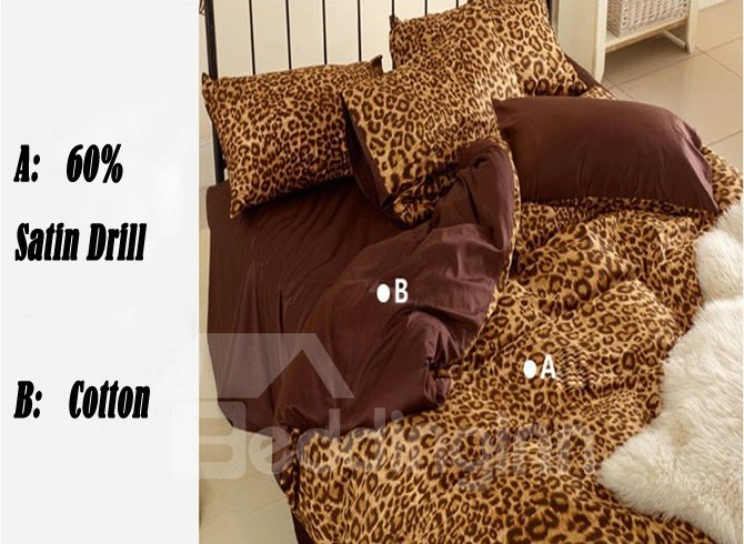 Elegant Sexy Leopard 3-Piece Bedding Sets with 60% Satin Drill