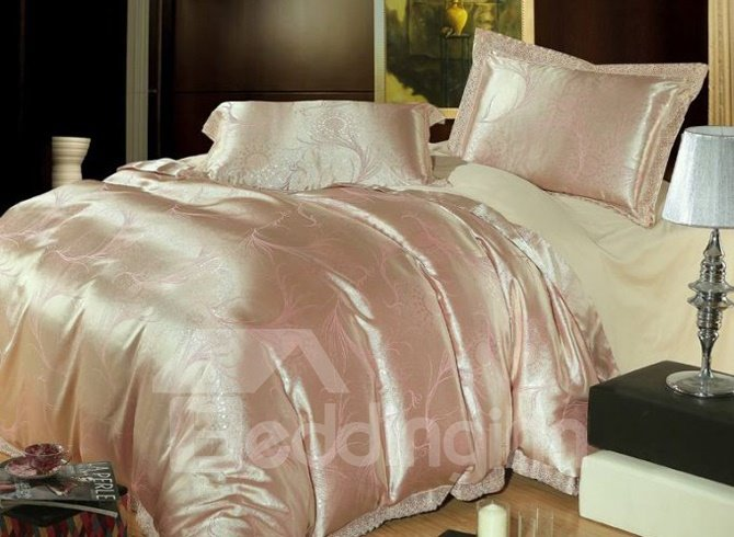 Luxury Shallow Gold and Pink Arabesque Jacquard 4 Piece Duvet Cover Sets