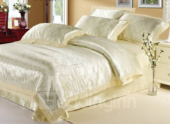 Courtlike and Warm Beige Arabesque 4 Piece Satin Bedding Sets with Jacquard (10490322)